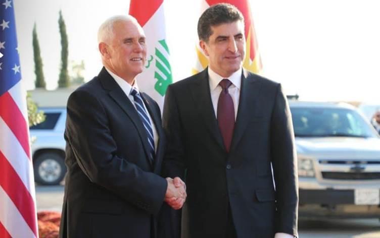 Erbil'e ulaşan Pence'i Başkan Neçivan Barzani karşıladı